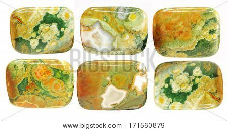 green and yellow jasper crystal semigem mineral collage
