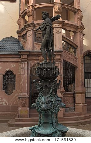 Hercules fountain in the courtyard of the town hall Roemer, Frankfurt, Germany