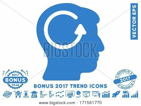 Cobalt Refresh Head Memory icon with bonus 2017 year trend design elements. Vector illustration style is flat iconic symbols white background.
