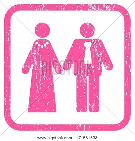 Newlyweds rubber watermark. Vector pictogram symbol inside rounded rectangular frame with grunge design and dirty texture. Stamp seal illustration. Unclean pink ink emblem on a white background.