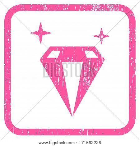 Sparkle Diamond Crystal rubber watermark. Vector icon symbol inside rounded rectangular frame with grunge design and unclean texture. Stamp seal illustration.