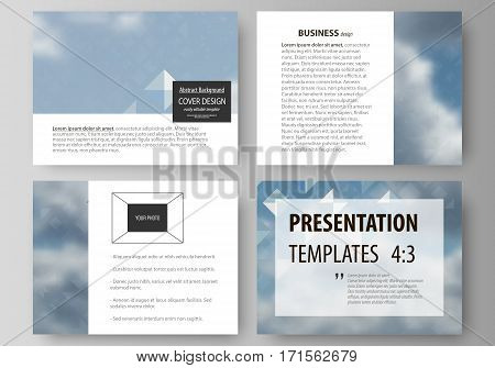Set of business templates for presentation slides. Easy editable abstract layouts in flat design, vector illustration. Blue color pattern with rhombuses, abstract design geometrical vector background. Simple modern stylish texture.