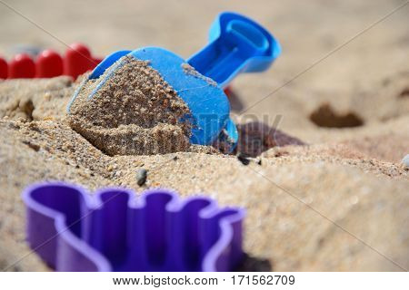 Children's Set For Game With Sand On The Seashore