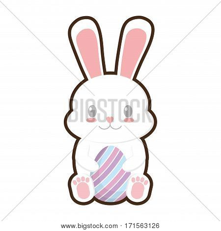 easter bunny sitting with egg vector illustration eps 10