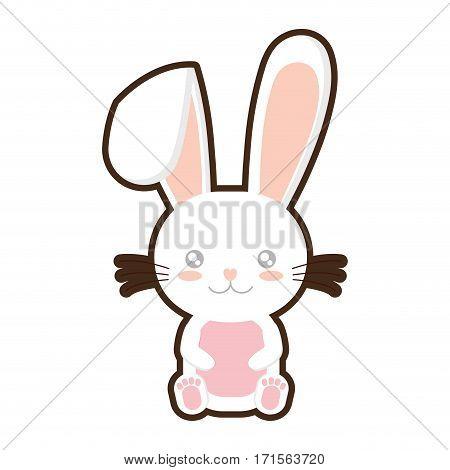 easter bunny wiskers sitting design vector illustration eps 10
