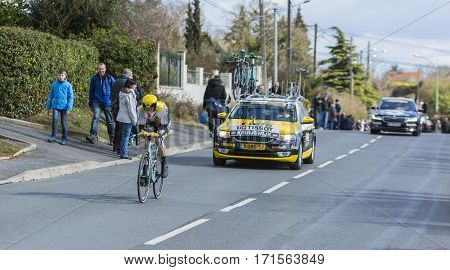 Conflans-Sainte-HonorineFrance-March 62016: The Dutch cyclist Steven Kruijswijk of Lotto NL-Jumbo Team riding during the prologue stage of Paris-Nice 2016.