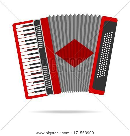 Accordion, accordion icon, harmonica, musical instrument. Flat design, vector illustration, vector.