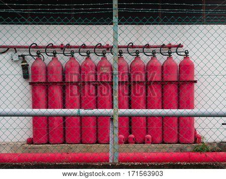 The red oxygen tanks for the factory