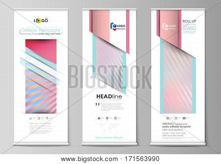 Set of roll up banner stands, flat design templates, abstract geometric style, modern business concept, corporate vertical vector flyers, flag layouts. Sweet pink and blue decoration, pretty romantic design, cute candy background.