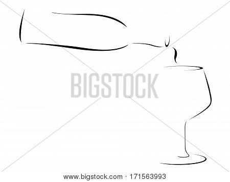Abstract Illustration of a Wine bottle pouring into a glass