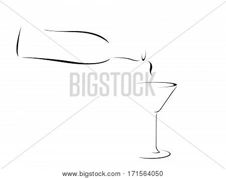 Abstract Illustration of a bottle pouring into a martini glass