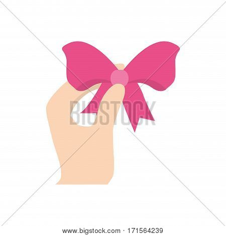 hand hing easter pink bow vector illustration eps 10