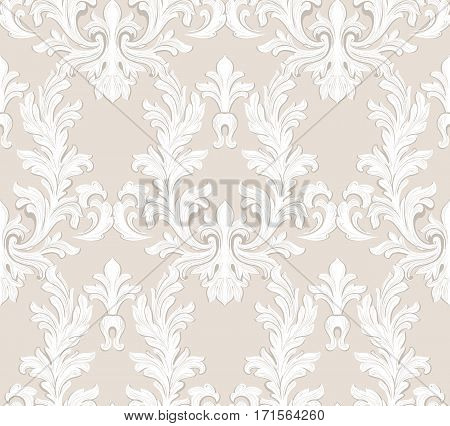 Vintage Baroque damask floral pattern acanthus Imperial style. Vector decor background. Luxury Classic ornament intricate. Royal Victorian texture for wallpapers, textile, fabric. Taupe color