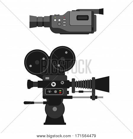 Camera vodeo optic lenses set on white background. Different types objective retro equipment, professional look. Digital vintage technology electronic aperture device.