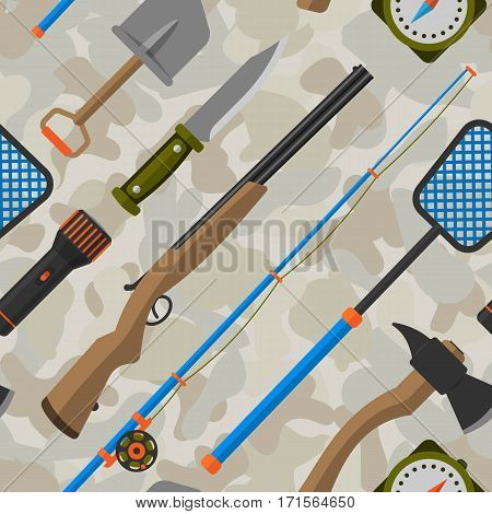 Outdoor travel camping seamless pattern tourism hiking recreation ax and nature vacation forest adventure knife equipment vector illustration. Camouflage khaki military leisure fishing picnic tools.