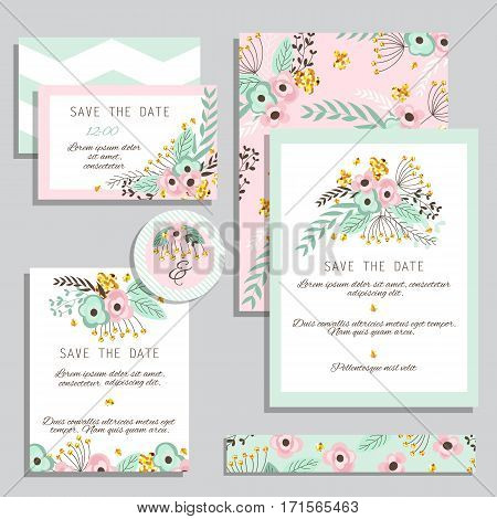 Vintage wedding invitation set design template with abstract flowers. Can be used for Save The Date mothers day valentines day birthday cards invitations.