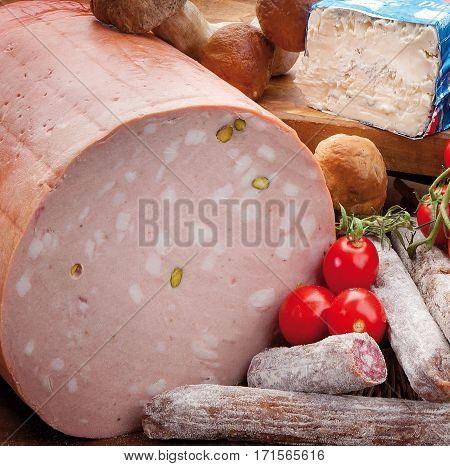 Salami, Mortadella Bologna, Soft Cheese, Tomatoes And Mushrooms