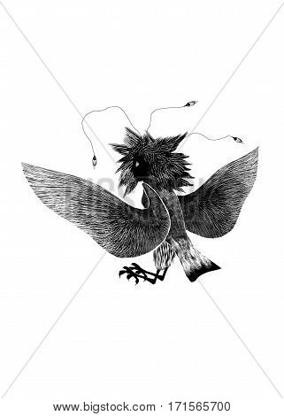 Mythological animal bird female Gamayun on white background black silhouette. Stylized folk pagan drawing. Bird of paradise and happiness.