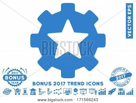 Cobalt Star Favorites Options Gear icon with bonus 2017 trend pictograms. Vector illustration style is flat iconic symbols white background.