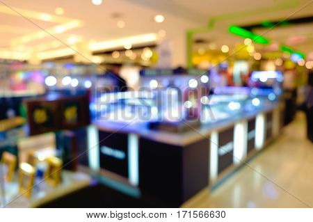 Beauty Cosmetic Shop Store In Fashion Shopping Mall, Abstract Blur Background.