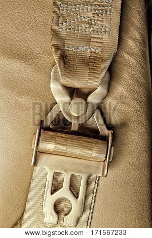 golden buckle and the shoulder strap on the leather seat