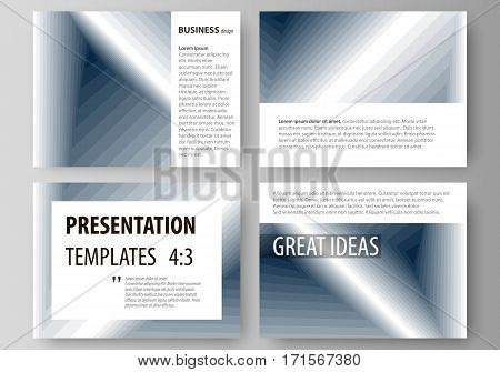Set of business templates for presentation slides. Easy editable abstract vector layouts in flat design. Simple monochrome geometric pattern. Abstract polygonal style, stylish modern background.