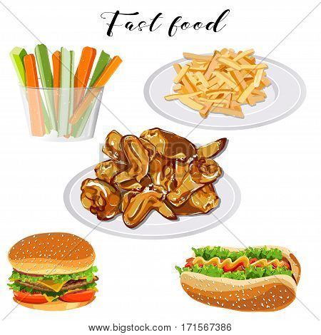 Fast food set on a white background. Vector eps