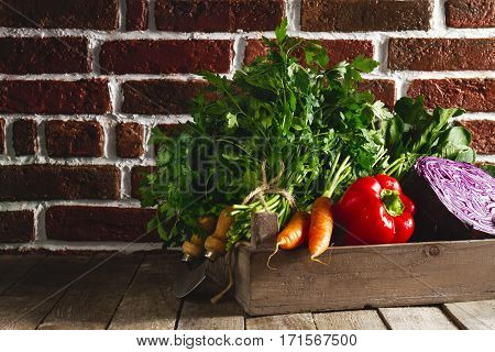 Food Vegetable Colorful Background. Tasty Fresh Vegetables in Wooden Box on Wooden Table. Kitchen Background. Copy Space.