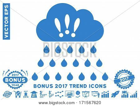Cobalt Thunderstorm Rain Cloud pictograph with bonus 2017 year trend elements. Vector illustration style is flat iconic symbols white background.