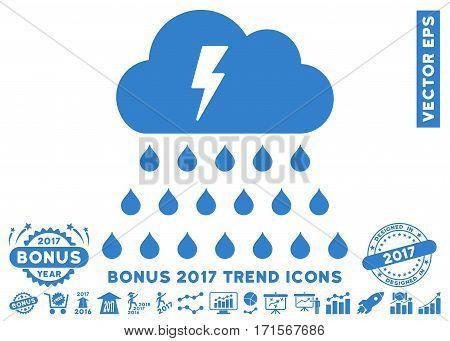Cobalt Thunderstorm Rain Cloud icon with bonus 2017 trend pictograms. Vector illustration style is flat iconic symbols white background.