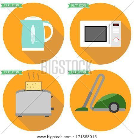 Home appliances, kitchen appliances, toaster, electric kettle, vacuum cleaner. Flat design, vector illustration, vector.