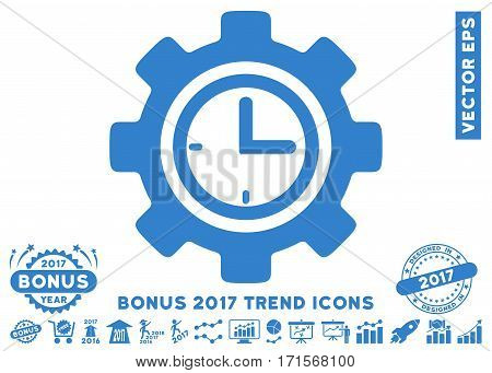 Cobalt Time Setup Gear pictograph with bonus 2017 year trend pictograph collection. Vector illustration style is flat iconic symbols white background.