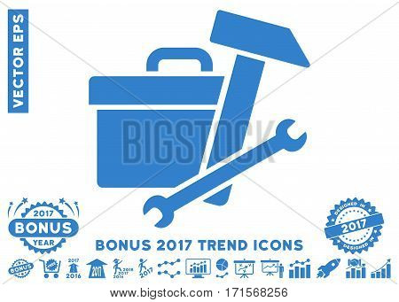 Cobalt Toolbox icon with bonus 2017 trend clip art. Vector illustration style is flat iconic symbols white background.