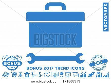 Cobalt Toolbox icon with bonus 2017 trend images. Vector illustration style is flat iconic symbols white background.