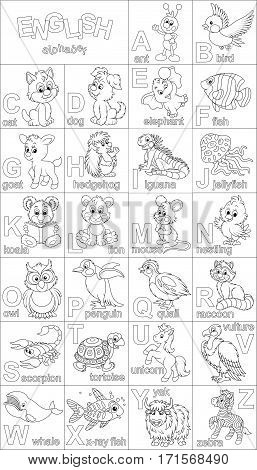 English alphabet with funny animals in cartoon style for coloring