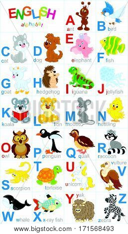 English alphabet with funny animals in cartoon style