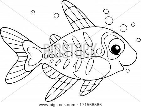 Black and white vector illustration of a small tropical fish with a transparent body