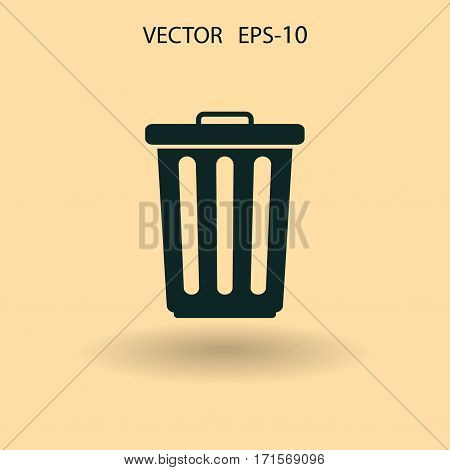 Flat a paper basket icon. vector illustration