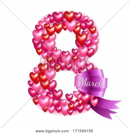 8 march women's day background greeting card. International lady's holiday design template. Hearts and ribbon.