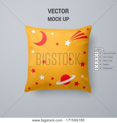 Yellow Pillow with Space Pattern Isolated on White Background