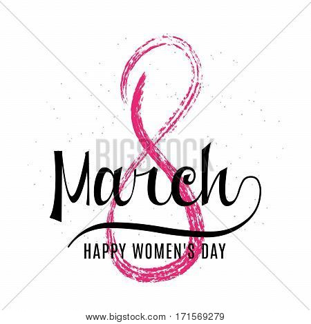 Vector illustration of stylish grunge 8 march womens day greeting card with lettering typography text sign, big sketch eight isolated on white background