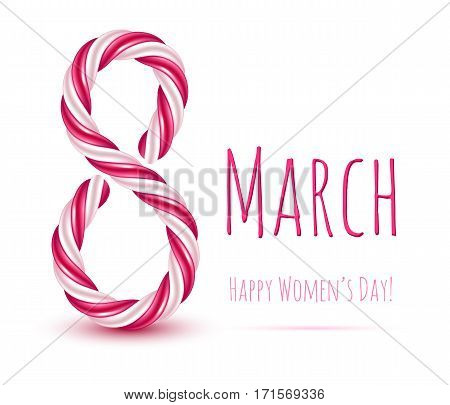 8 march women's day background greeting card. International lady's holiday design template. Spiral sweet candy cane design.