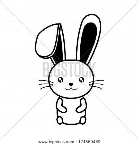 easter bunny wiskers sitting line vector illustration eps 10