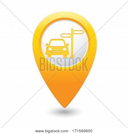 Car and road sign icon on the yellow map pointer