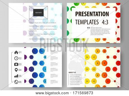 Set of business templates for presentation slides. Easy editable abstract vector layouts in flat design. Chemistry pattern, hexagonal design molecule structure, scientific, medical DNA research. Geometric colorful background.