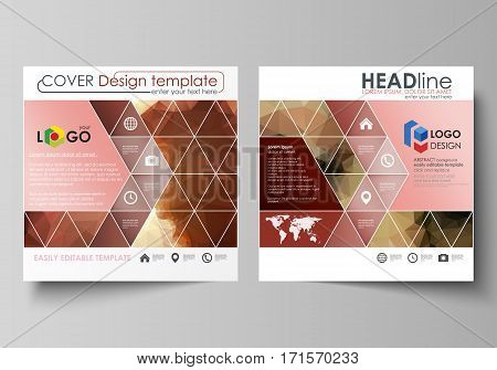 Business templates for square design brochure, magazine, flyer, booklet or annual report. Leaflet cover, abstract flat layout, easy editable vector. Beautiful background. Geometrical colorful polygonal pattern in triangular style.
