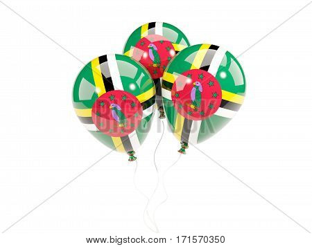 Three Balloons With Flag Of Dominica