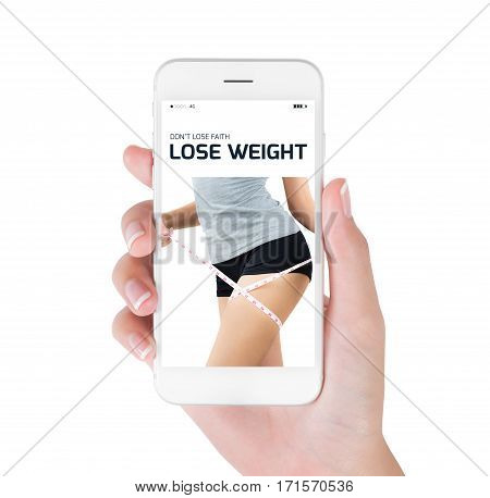 Woman using her smart phone searching lose weight information woman measuring her thigh and show perfect body in lose weight and diet concept Isolated on white background.