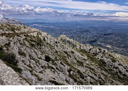 Sveti Jure mountain peak with the cloudy sky landscape