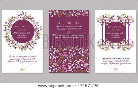 Vintage wedding invitation set design template with abstract hand-painted plants. Can be used for Save The Date mothers day valentines day birthday cards invitations.
